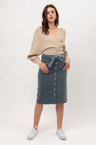 Corduroy Skirt Blue Stone