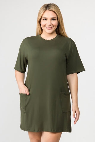 Olive Dress with Pockets Plus