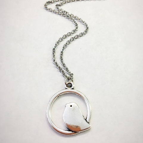 Bird in Hoop Necklace