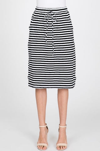 Ivory and Black Stripe Skirt