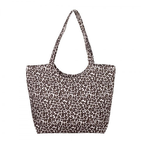 Leopard Print Canvas Tote Bag Ivory
