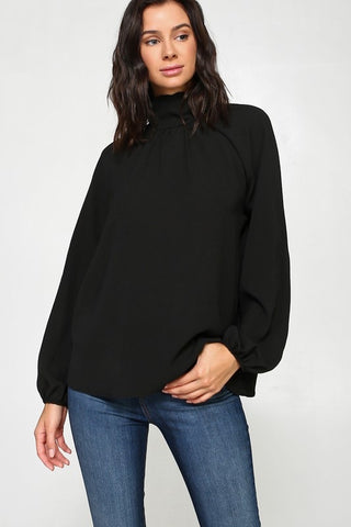 Back Tie Blouse Black