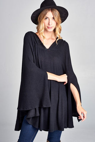 Poncho with Hoodie Black