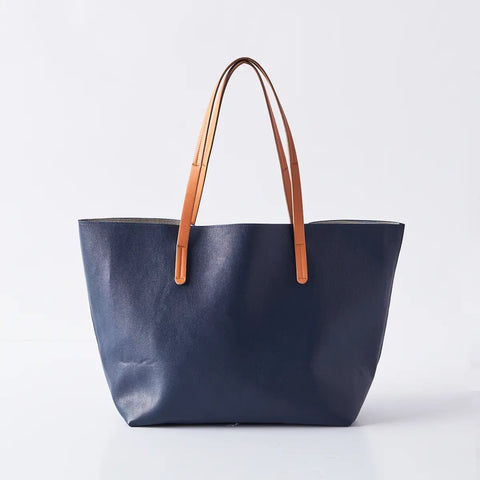 Vegan Leather Tote Navy