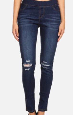 Classic Skinny Jeggings with Distressed Knees