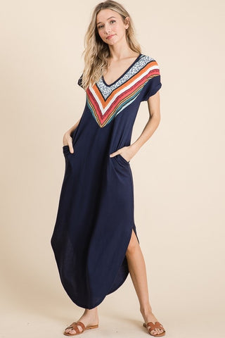 Navy Contrast Maxi Dress