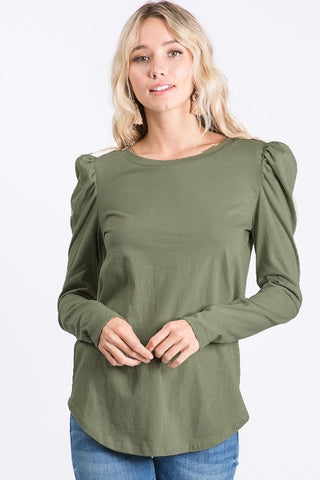 Olive Puff Sleeve Top