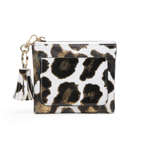 Coin Pouch with ID Holder Metallic White Gold Leopard