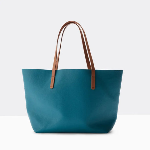 Vegan Leather Tote Marine Blue