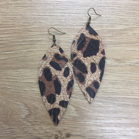 San Antonio Feather Earrings Leopard