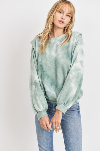 Tie Dye Brushed Knit Top Sage