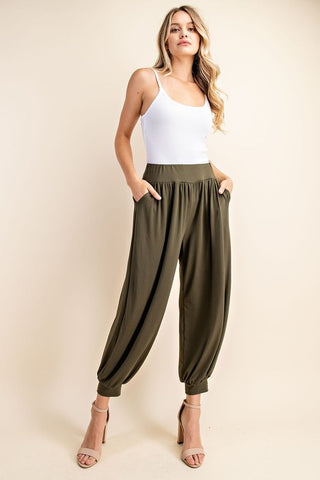 Solid Olive Pants with Pockets