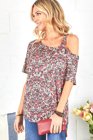 Ditsy Floral Open Shoulder Top