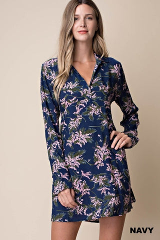Floral Shift Dress Navy