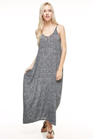Animal Print Maxi Dress Gray