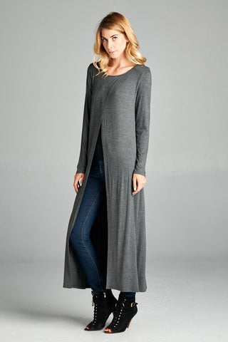 Sadie Long Sleeve Top Charcoal