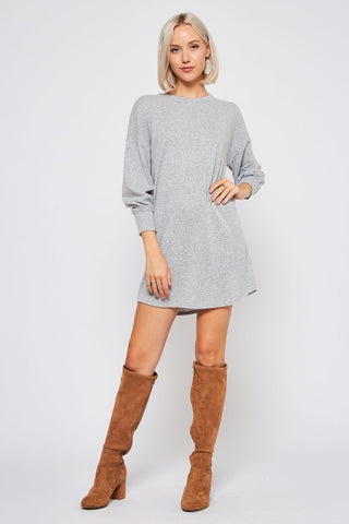 Bishop Sleeve Sweater Tunic Dress Gray