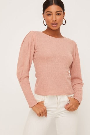 Puff Sleeve Crepe Top Blush