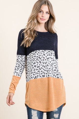 Animal Print Color Block Pullover