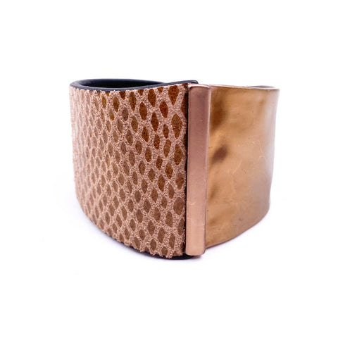 Leather and Metal Cuff Brown
