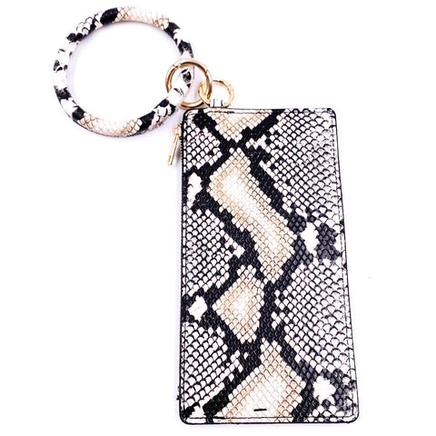 Black Snakeskin Wallet with Keyring