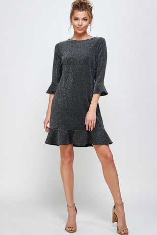 Lurex Holiday Dress Silver/Black