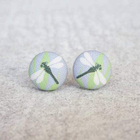 Dragonfly Fabric Button Earrings