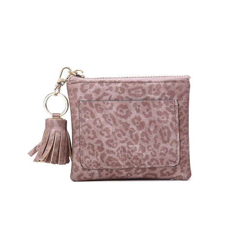 Coin Pouch with ID Holder Cheetah Mauve