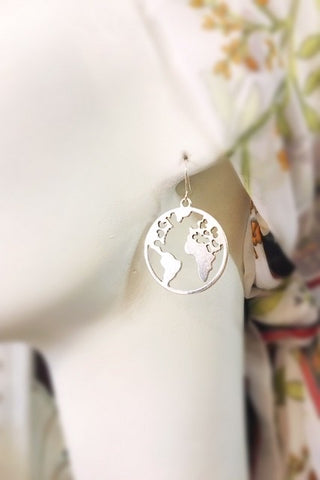 Large World Map Earrings