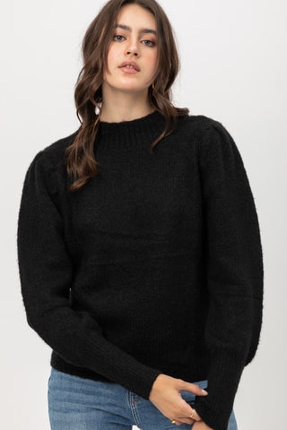 Yarn Puff Sleeve Sweater Black