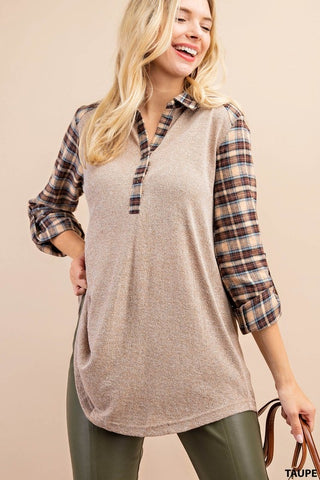 Plaid Mixed Collard Shirt Taupe