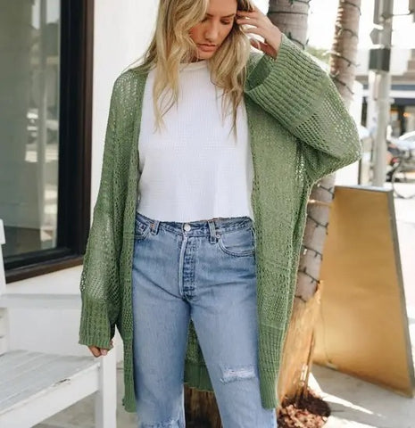 Knit Netted Cardigan Moss
