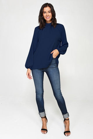 Back Tie Blouse Navy
