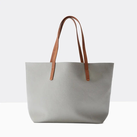 Vegan Leather Tote Gray
