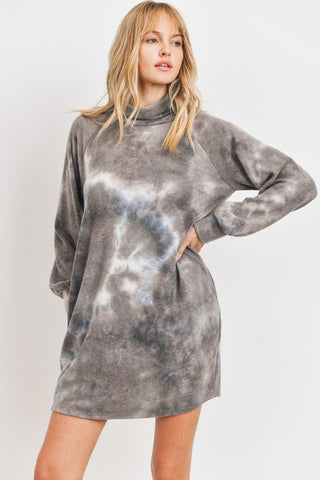 Cowl Neck Tie Dye Dress Charcoal