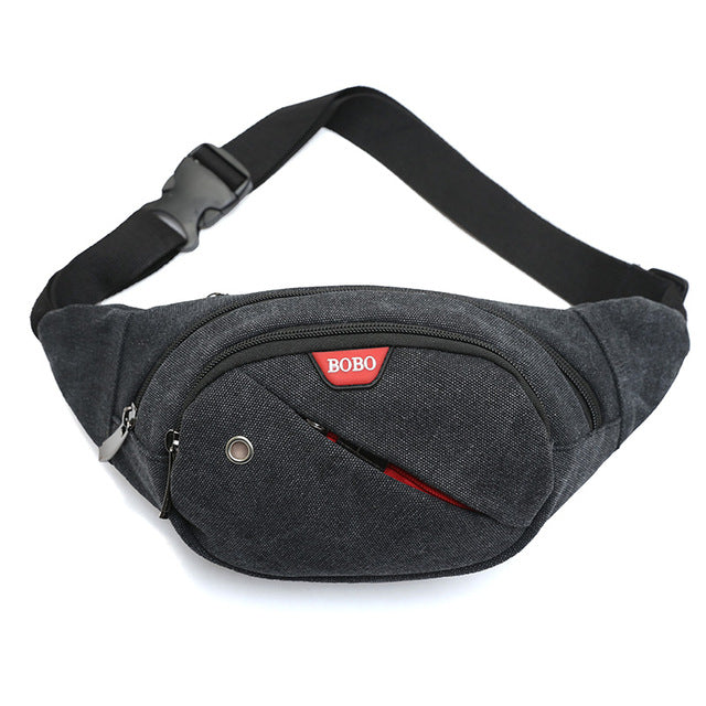 Grey Canvas Fanny Pack