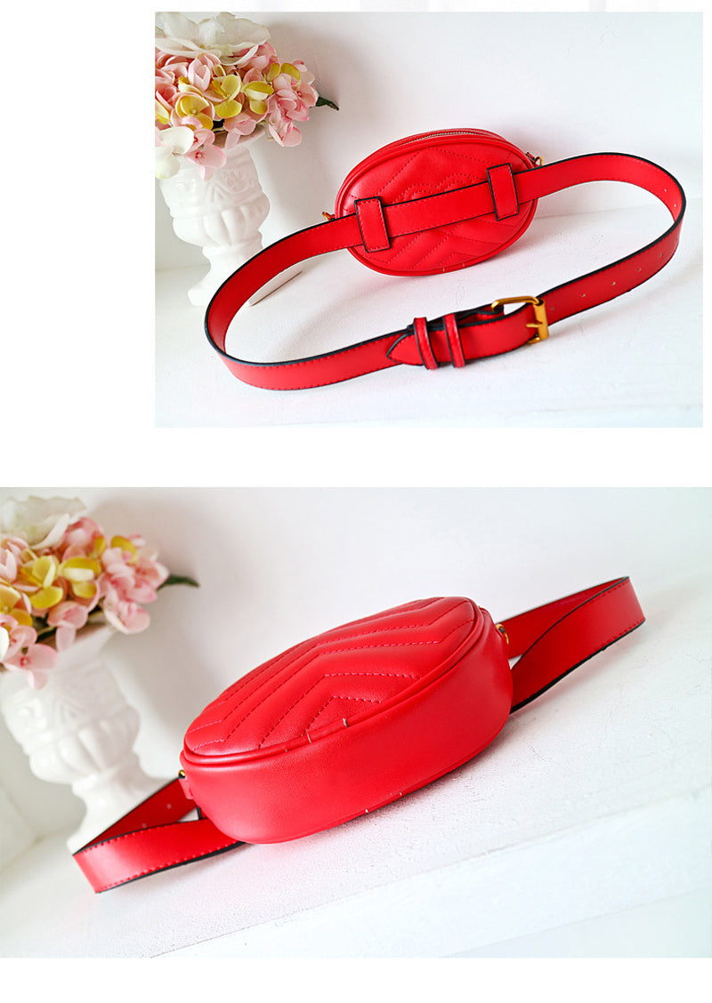 Red Faux Leather Oval Belt Bag Waist Bag Pack