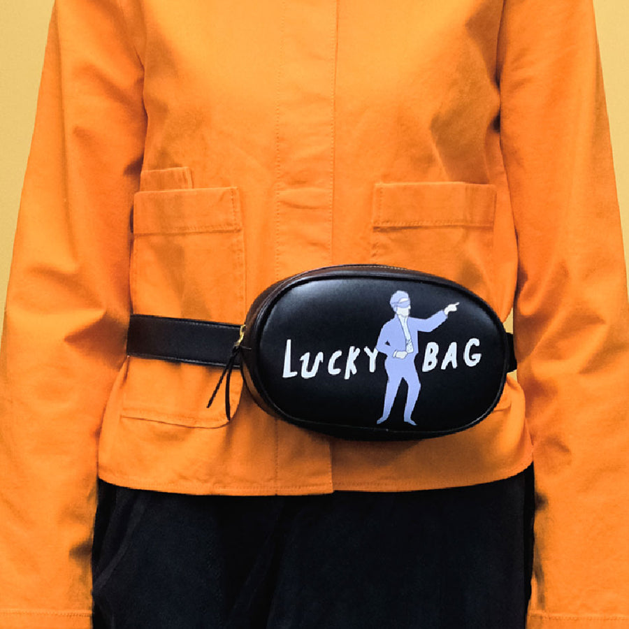 Black Print 'Luck Bag' Fanny Pack