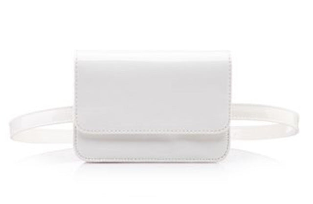 White Glossy Leather Fanny Pack