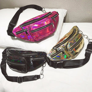 Gold Holographic Multi-Zipper Fanny Pack