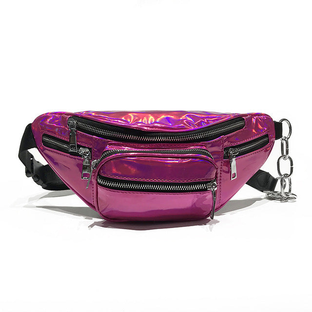Pink Holographic Multi-Zipper Fanny Pack
