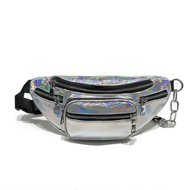 Silver Holographic Multi-Zipper Fanny Pack