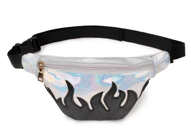 Silver Black Flame Fanny Pack