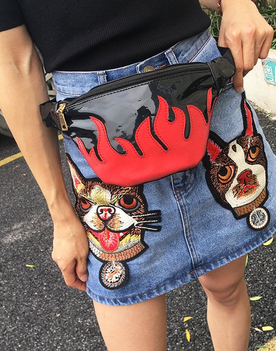 Black Red Flame Fanny Pack