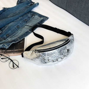 Silver Metallic Chain Fanny Pack