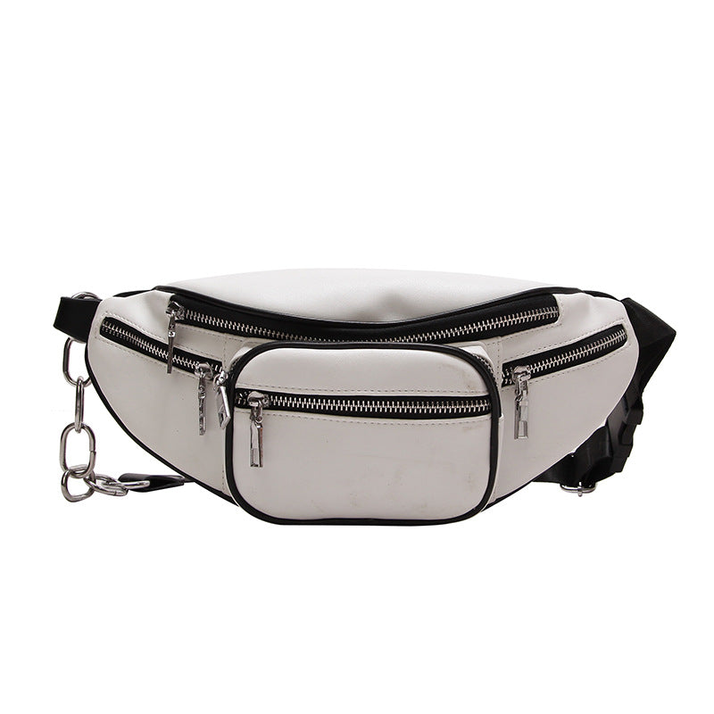 White and Black Leather Fanny Pack