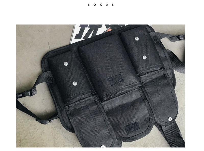 Gray Strapped Chest Rig Bag
