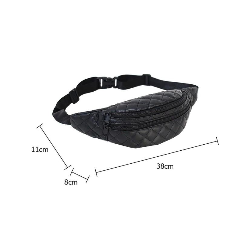 Black Quilted Faux Leather Fanny Pack