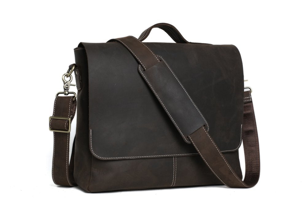 14'' LEATHER BRIEFCASE MESSENGER BAG