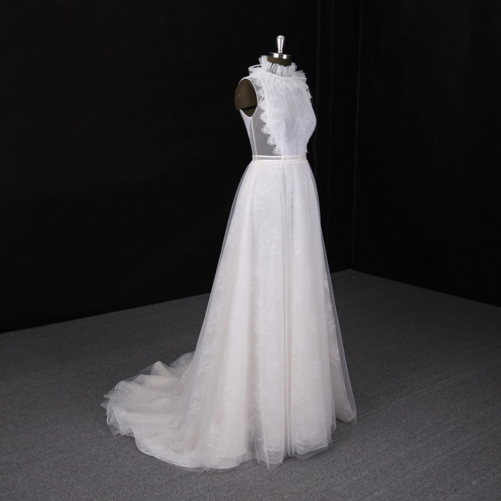 A-line High collar Sleeveless Sweep Train Bridal Gown